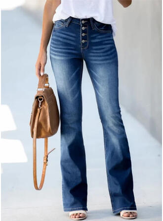 Denim Long Elegant Vintage Shirred Pants Denim & Jeans