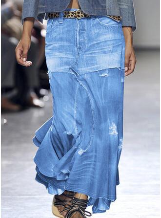 Polyester Geometrisch Midi Ausgestellte Röcke