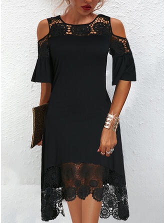 Solid Lace 1/2 Sleeves Cold Shoulder Sleeve Shift Knee Length Elegant Dresses
