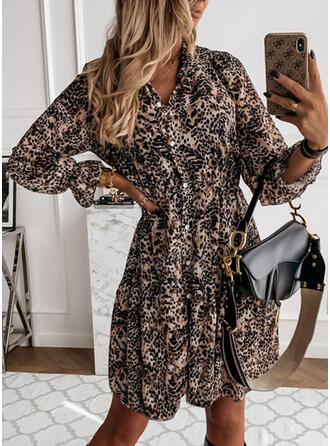 Print/Leopard Long Sleeves A-line Above Knee Casual Shirt/Skater Dresses