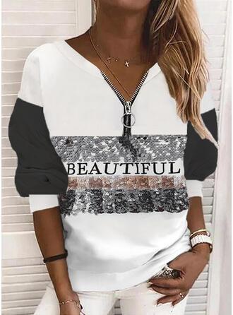 Print Color Block Letter Sequins V-Neck Long Sleeves Sweatshirt