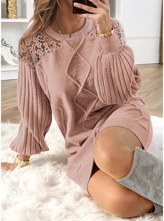 Spitze/Einfarbig Lange Ärmel Shift Über dem Knie Freizeit Pullover Kleider