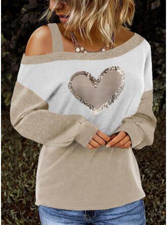 Color Block Heart Sequins One Shoulder Long Sleeves Dropped Shoulder Casual Blouses