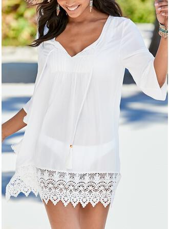 Einfarbig Gittergewebe V-Ausschnitt Elegant Lässige Kleidung Strandmode Bademode