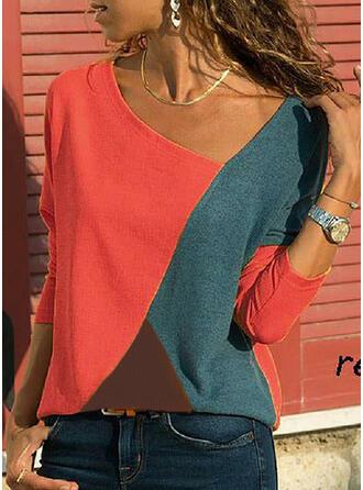 Geblockte Farben V-Ausschnitt Lange Ärmel Freizeit T-shirt