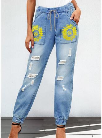 Blumen Zerrissen Kordelzug Boho Lässige Kleidung Denim Jeans