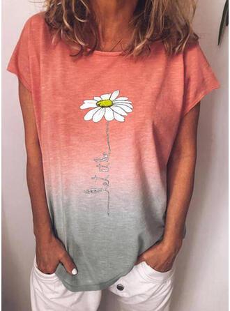Figur Blumen Gradient Druck Rundhalsausschnitt Kurze Ärmel T-Shirts