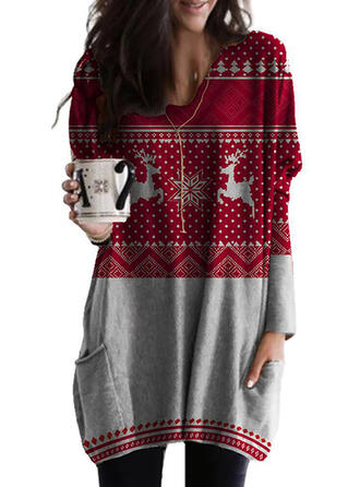 Tierdruck Rundhals Lange Ärmel Weihnachts-Sweatshirt