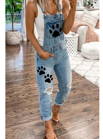 Tierdruckmuster Taschen Übergröße Zerrissen Lange Lässige Kleidung Einfarbig Denim Jeans Overalls & Strampler