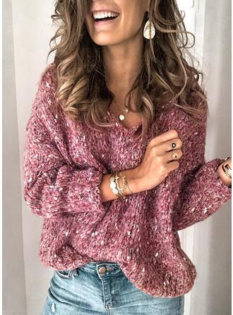 Einfarbig Grobstrick V-Ausschnitt Pullover