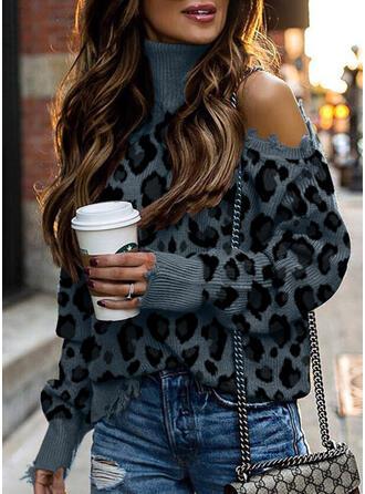Leopard Rollkragen Kalte Schulter Freizeit Pullover