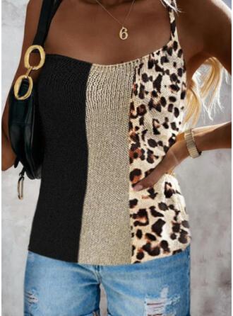 Color Block Leopard Print Knit Spaghetti Straps Sleeveless Tank Tops