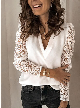 Einfarbig Spitze V-Ausschnitt Puffärmel Lange Ärmel Elegant Blusen