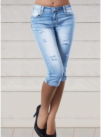 Solid Cotton Capris Sexy Plus Size Pocket Ripped Pants Denim & Jeans