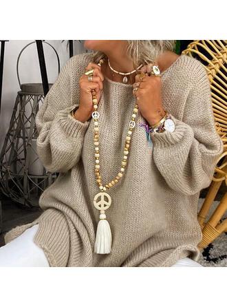 Stilvoll Boho Naturstein Kristall Baumwollschnur Holzperlen mit Quasten Perlen Halsketten
