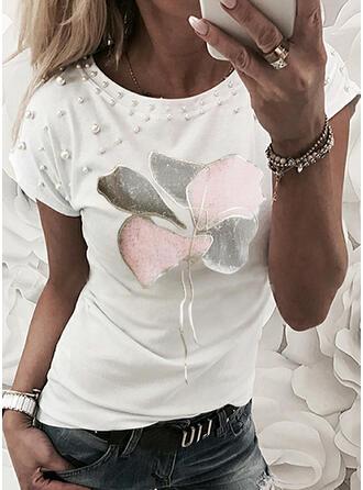 Perlen Druck Rundhalsausschnitt Kurze Ärmel T-Shirts