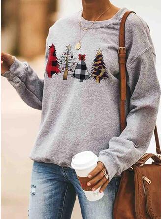 Polyester Drucken Weihnachts-Sweatshirt