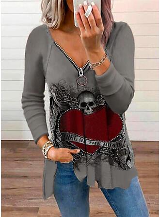 Heart Print Letter V-Neck Long Sleeves T-shirts