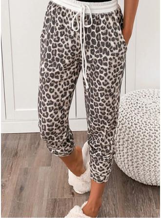 Leopard Kordelzug Beschnitten Lässige Kleidung Sportlich Hosen