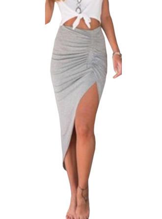 Polyester Baumwolle Einfarbig Maxi High-Schlitz Röcke