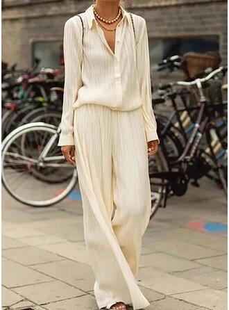 Einfarbig Shirred Übergröße Elegant Einfach Anzüge