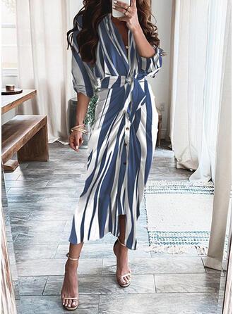 Striped Long Sleeves Sheath Shirt Casual Maxi Dresses