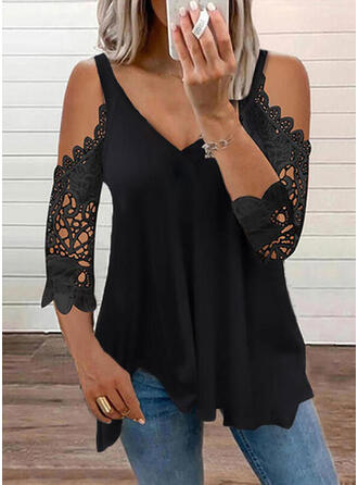 Solid Lace Cold Shoulder 3/4 Sleeves T-shirts