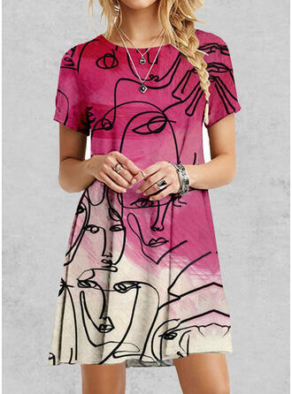 Print Short Sleeves Shift Above Knee Casual T-shirt Dresses