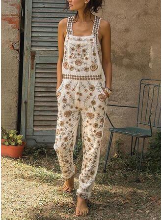 Blumen Druck Träger Ärmellos Lässige Kleidung Boho Urlaub Overall