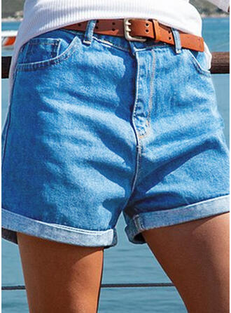 Solid Cotton Above Knee Casual Vintage Shirred Pants Shorts Denim & Jeans