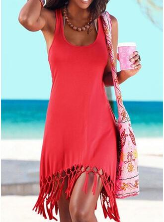 Einfarbig Träger U-Ausschnitt Sexy Boho Strandmode Bademode