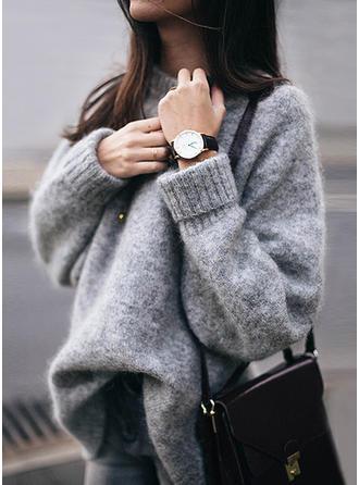Einfarbig U-Ausschnitt Pullover
