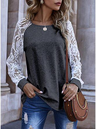 Lace Solid Round Neck Long Sleeves T-shirts