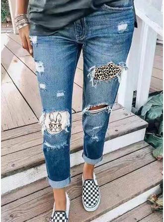 Shirred Zerrissen Leopard Stammes Jahrgang Denim Jeans