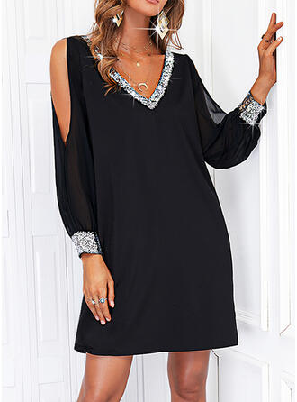 Solid Sequins Long Sleeves Cold Shoulder Sleeve Shift Above Knee Little Black/Casual Tunic Dresses