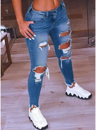 Zerrissen Quaste Sexy Jahrgang Denim Jeans