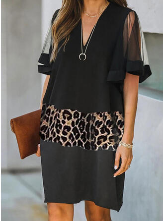 Leopard Kurze Ärmel Shift Knielang Elegant Kleider