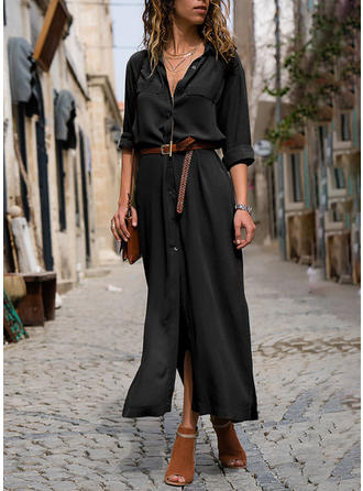 Einfarbig Lange Ärmel A-Linien Hemd Kleine Schwarze Maxi Kleider
